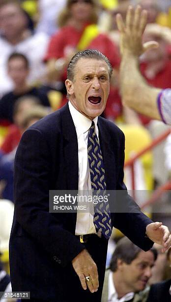 Miami Heat Head Coach Pat Riley argues a foul during 3rd period action of the Heats' game against the News York Knicks in game seven of the Eastern...