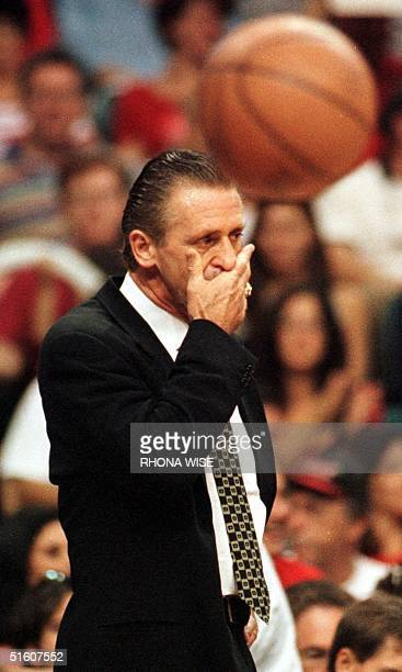 Miami Heat head coach Pat Riley watches the second half of their game against the New York Knicks 16 May 1999 during game five of their first round...