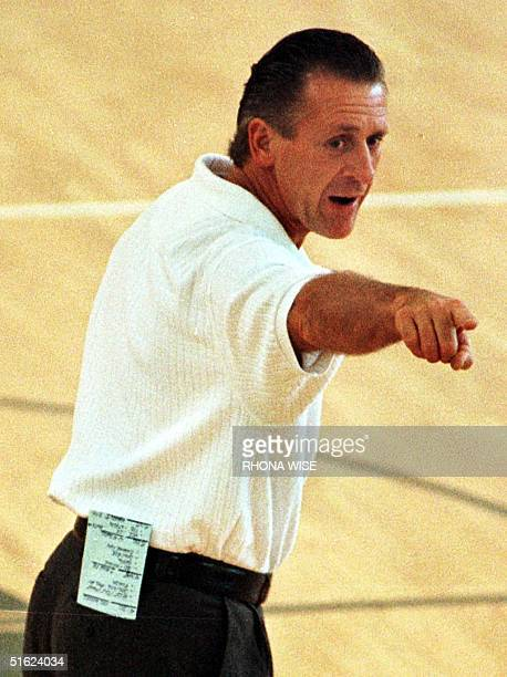 Miami Heat head coach Patrick Riley call drills out to his players during practice at the Heat's practice facility in Miami Florida 21 January on the...