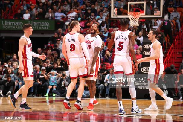Miami Heat highfives each other during the game against the Washington Wizards on January 22 2020 at American Airlines Arena in Miami Florida NOTE TO...