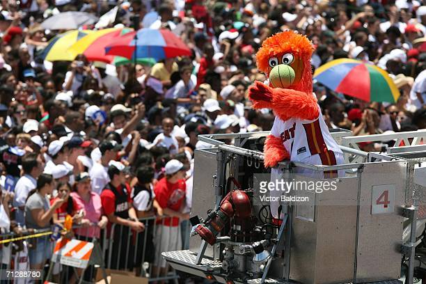 Miami Heat Mascot Burnie celebrates during the victory parade at American Airlines Arena on June 23 2006 in Miami Florida NOTE TO USER User expressly...