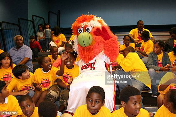 Miami Heat mascot Burnie entertains the crowd during the Heat Academy End of the Year Celebration at the Miami Childrens Museum on May 17 2006 in...
