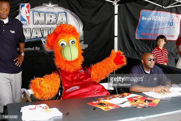 Miami Heat mascot Burnie greets fans at the NBA Nation Tour at Coconut Grove on June 4 2007 in Miami Florida NOTE TO USER User expressly acknowledges...