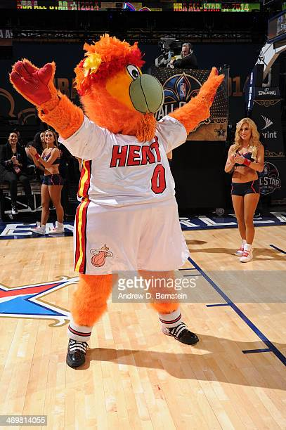 Miami Heat mascot Burnie is introduced before the 2014 NBA AllStar Game as part of the 2014 AllStar Weekend at Smoothie King Center on February 16...