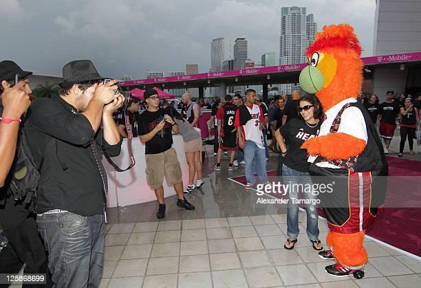Miami HEAT mascot Burnie makes and appearance at the TMobile TipOff event before the Miami HEAT home game opener at AmericanAirlines Arena on October...