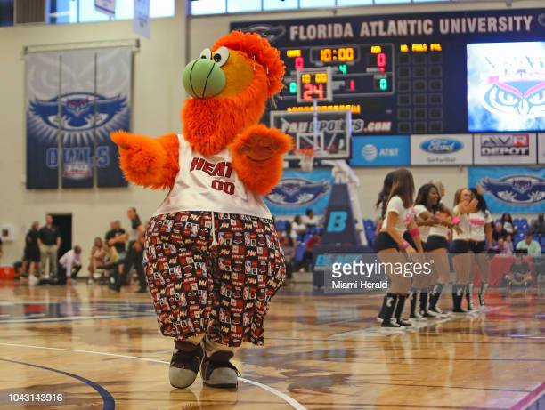Miami Heat mascot Burnie performs during the HEAT Red White Pink scrimmage at FAU Arena in Boca Raton Fla on Saturday Sept 29 2018 The HEAT Red White...
