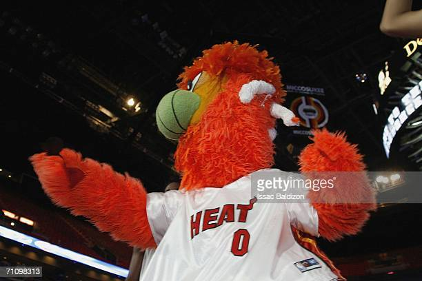 Miami Heat Mascot hands out shirts during the Miami Heat Road Rally for game five of the Eastern Conference Finals during the 2006 NBA Playoffs at...