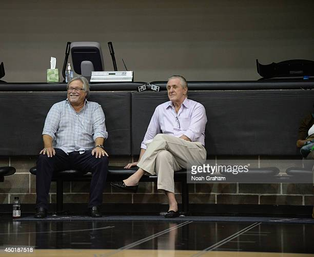 Miami Heat owner Micky Arison and team President Pat Riley observe practice as part of the 2014 NBA Finals on June 6 2014 at the Spurs Practice...