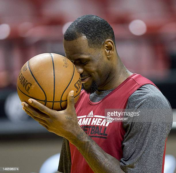 Miami Heat player LeBron James attends a practice on June 20 2012 at the American Airlines Arena in Miami Florida The Heat and the Oklahoma City...