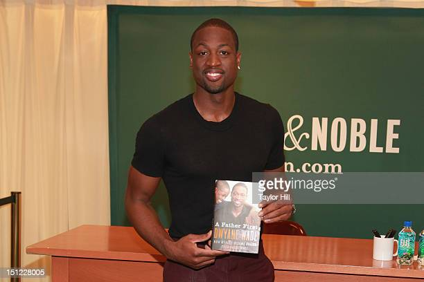 Miami Heat point guard Dwyane Wade promotes his book A Father First How My Life Became Bigger Than Basketball at Barnes Noble 5th Avenue on September...