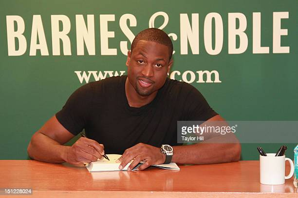 Miami Heat point guard Dwyane Wade promotes his book 'A Father First How My Life Became Bigger Than Basketball' at Barnes Noble 5th Avenue on...