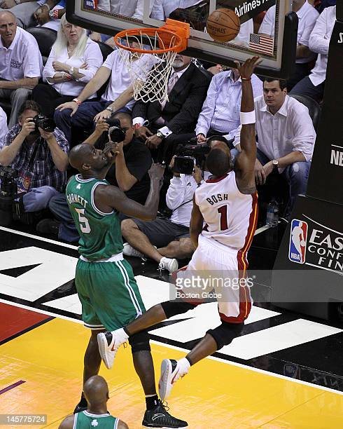 Miami Heat power forward Chris Bosh puts up a shot and gets the call for a foul as Bosh returned to action after missing the first four games with an...