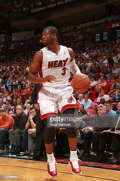 Miami Heat shooting guard Dwyane Wade brings the ball up court during the game against the Oklahoma City Thunder on March 16 2011 at American...