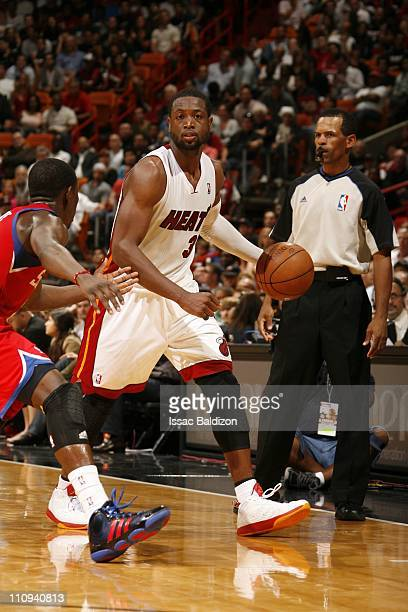 Miami Heat shooting guard Dwyane Wade brings the ball up court during the game against the Philadelphia 76ers on March 25 2011 at American Airlines...