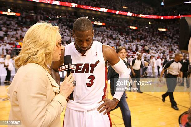 Miami Heat shooting guard Dwyane Wade gives interview as they take on the Boston Celtics in Game One of the Eastern Conference Semifinals in the 2011...