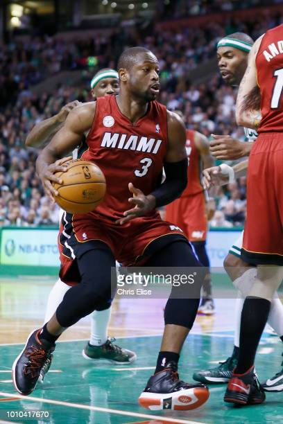 Miami Heat shooting guard Dwyane Wade is seen during the Miami Heat 105103 victory over the Boston Celtics at TD Garden on March 18 2013 in Boston...