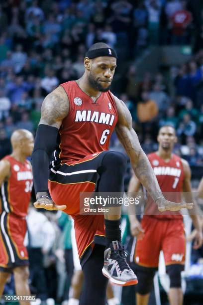 Miami Heat small forward LeBron James celebrates during the Miami Heat 105103 victory over the Boston Celtics at TD Garden on March 18 2013 in Boston...