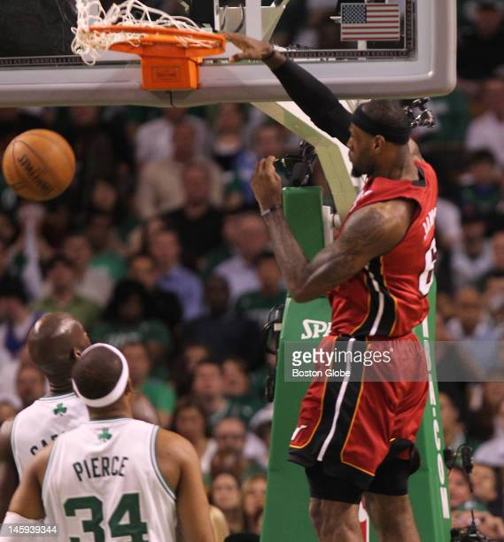 Miami Heat small forward LeBron James scores in the first quarter Boston Celtics NBA basketball action and reaction The Celtics play the Miami Heat...