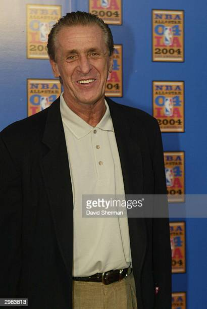 Miami Heat Team executive Pat Riley arrives for NBA AllStar Saturday February 14 2004 at the Staples Center in Los Angeles California NOTE TO USER...