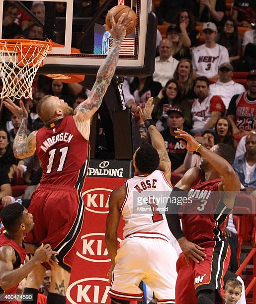 Miami Heat's Chris Andersen blocks the shot of Chicago Bulls' Derrick Rose during the fourth quarter on Sunday Dec 14 at AmericanAirlines Arena in...