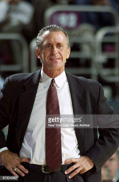 Miami Heat's coach Pat Riley watches developments in game against the New York Knicks at Madison Square Garden Knicks won 10188