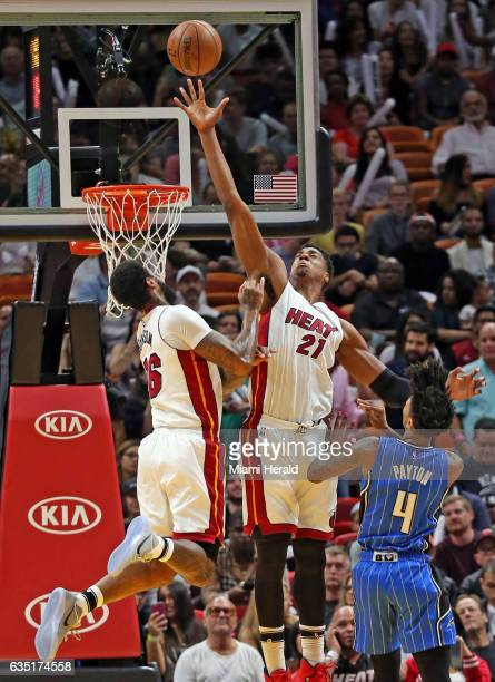 Miami Heat's Hassan Whiteside blocks Orlando Magic's Elfrid Payton in the second quarter on Monday Feb 13 2017 at the AmericanAirlines Arena in Miami...