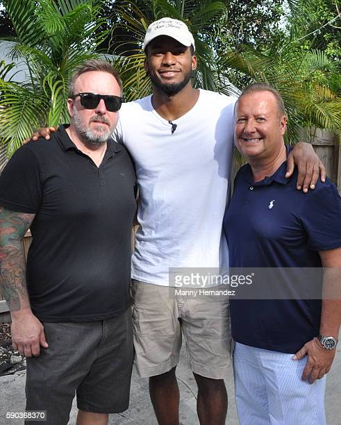 Miami Heat's Justise Winslow with Brian Mullins and Chris Dickens hosts Backyard BBQ at Ms Cheezious on July 24 2016 in Miami Florida