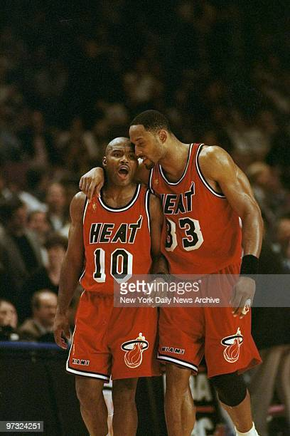 Miami Heat's Tim Hardaway and Alonzo Mourning exchange words near end of the Eastern Conference semifinals against the New York Knicks