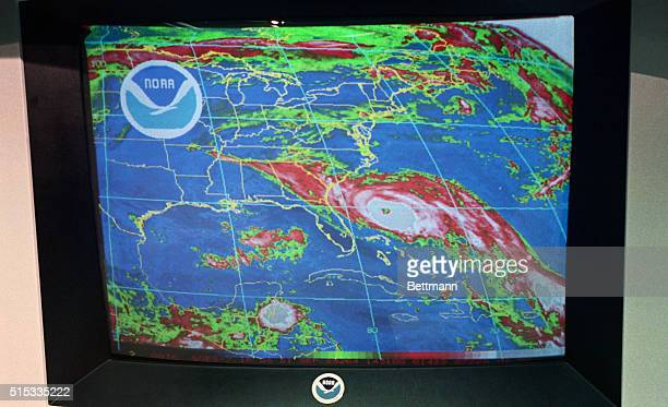 Hurricane Hugo is shown in a noon satellite color photo as it approaches the GeorgiaSouth Carolina coast Hugo has winds of 115 mph and is moving to...