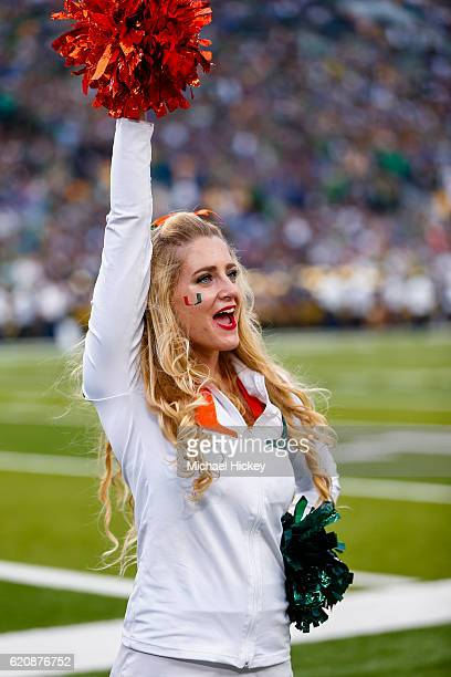 Miami Hurricanes cheerleader is seen during the game against the Notre Dame Fighting Irish at Notre Dame Stadium on October 29 2016 in South Bend...