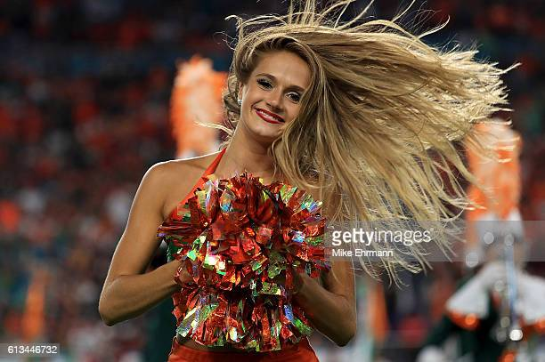 Miami Hurricanes cheerleader performs during a game against the Florida State Seminoles at Hard Rock Stadium on October 8 2016 in Miami Gardens...
