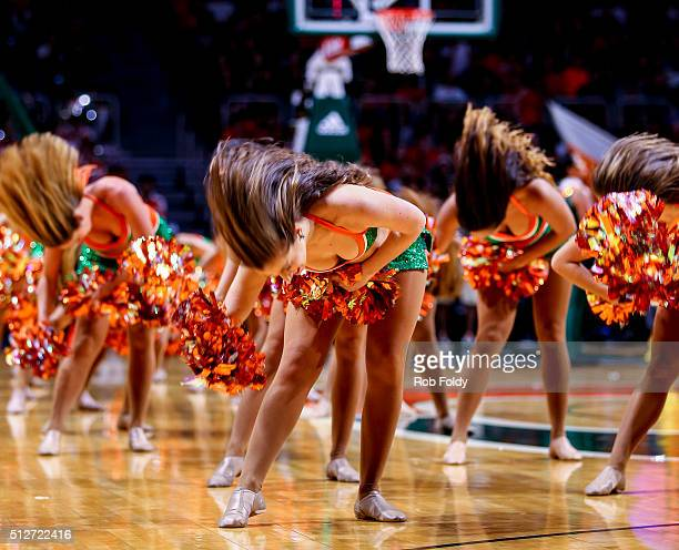 Miami Hurricanes cheerleaders perform during the game against the Louisville Cardinals at the BankUnited Center on February 27 2016 in Miami Florida