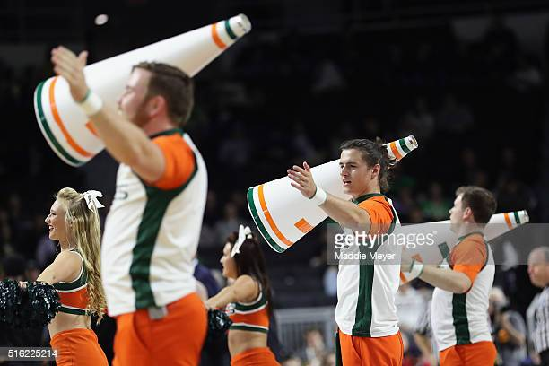 Miami Hurricanes cheerleaders perform during the game between the Buffalo Bulls and the Miami Hurricanes in the first round of the 2016 NCAA Men's...