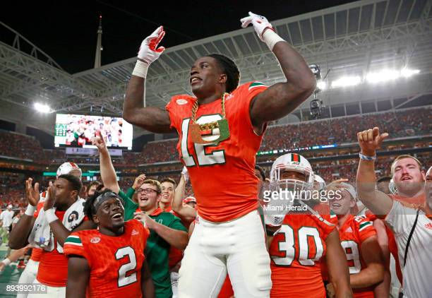 Miami Hurricanes defensive back Malek Young wears the turnover chain after an interception in the second quarter against Notre Dame on November 11 at...