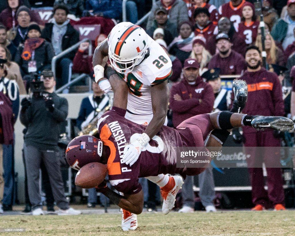 COLLEGE FOOTBALL: NOV 17 Miami at Virginia Tech : News Photo