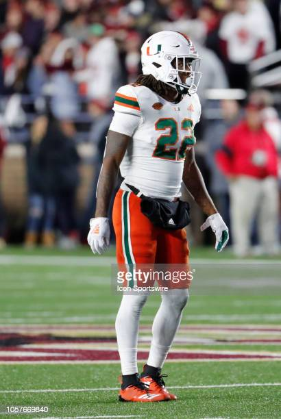 Miami Hurricanes defensive back Sheldrick Redwine checks the offensive set during a game between the Boston College Eagles and the Miami Hurricanes...