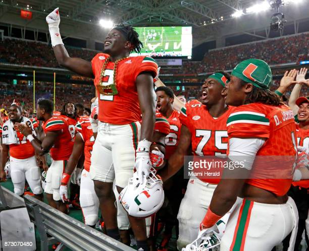 Miami Hurricanes defensive back Trajan Bandy wears the turnover chain after an interception in the second quarter against the Notre Dame Fighting...