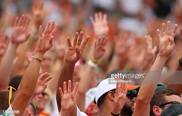 Miami Hurricanes fans hold up a sign for the fourth quarter during a game against the Florida Gators at Sun Life Stadium on September 7 2013 in Miami...