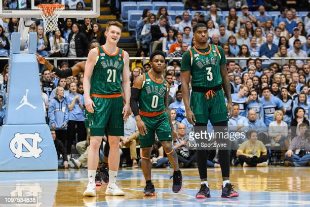 Miami Hurricanes forward Sam Waardenburg Miami Hurricanes guard Chris Lykes and Miami Hurricanes guard Anthony Lawrence II during the college...