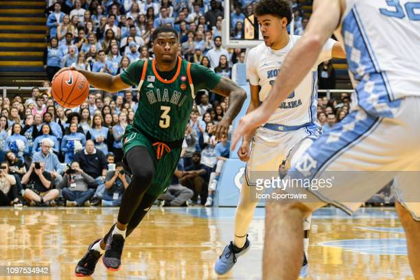 Miami Hurricanes guard Anthony Lawrence II goes to the basket during the college basketball game between Miami Hurricanes and the North Carolina Tar...