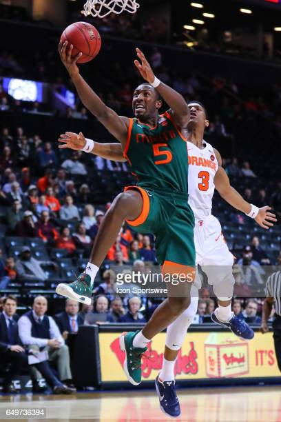 Miami Hurricanes guard Davon Reed drives to the basket during the first half of the 2017 New York Life ACC Tournament second round game between the...