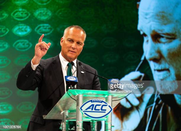 Miami Hurricanes head coach Mark Richt addresses the media during the ACC Football Kickoff on July 18 at The Westin Charlotte in Charlotte NC