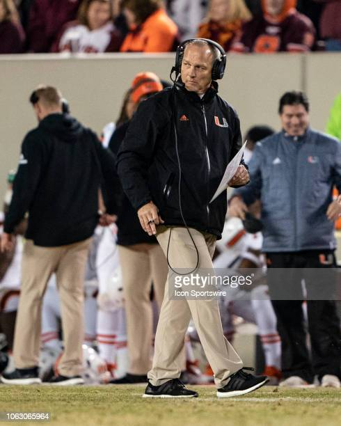 Miami Hurricanes Head Coach Mark Richt looks on from the sidelines during the second half of the Miami Hurricanes versus the Virginia Tech Hokies...