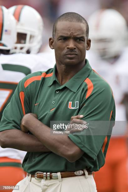 Miami Hurricanes Head Coach Randy Shannon watches his team during a game against the Oklahoma Sooners at Gaylord FamilyOklahoma Memorial Stadium...