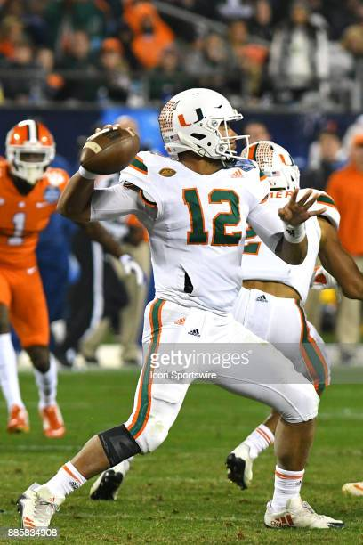 Miami Hurricanes quarterback Malik Rosier begins to throw down field during the ACC Championship game between the Miami Hurricanes and the Clemson...