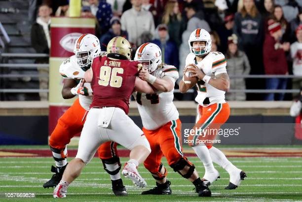 Miami Hurricanes quarterback Malik Rosier looks for a receiver during a game between the Boston College Eagles and the Miami Hurricanes on October 26...