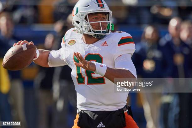 Miami Hurricanes quarterback Malik Rosier looks for a receiver during a college football game between the Pittsburgh Panthers and the Miami...