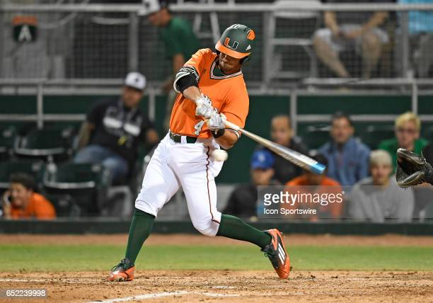 Miami infielder Johnny Ruiz at bat during a college baseball game between the Dartmouth College Big Green and the University of Miami Hurricanes on...