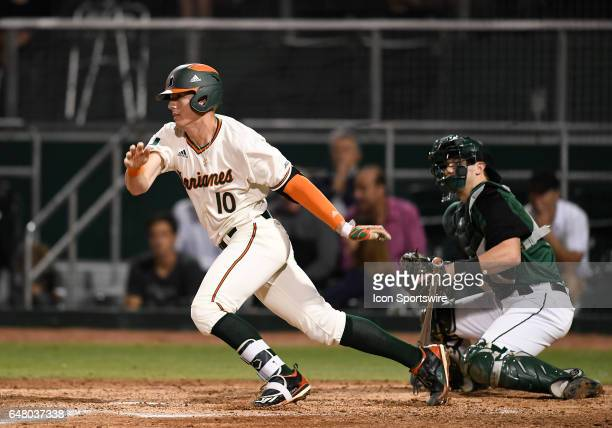 Miami infielder Romy Gonzalez at bat during a college baseball game between the Dartmouth College Big Green and the University of Miami Hurricanes on...