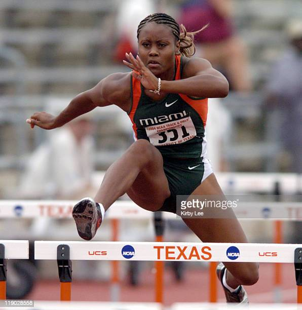 Miami junior Amber Williams wins women's 100meter heptathlon heat in 1377 seconds in the NCAA Track Field Championships at the University of Texas'...